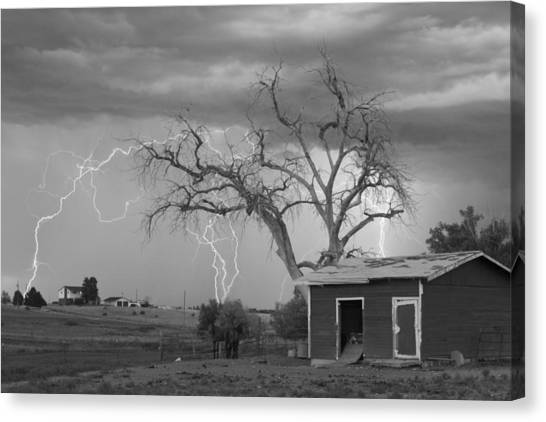 Weather Canvas Print - Country Horses Lightning Storm Ne Boulder County Co  76bw by James BO  Insogna