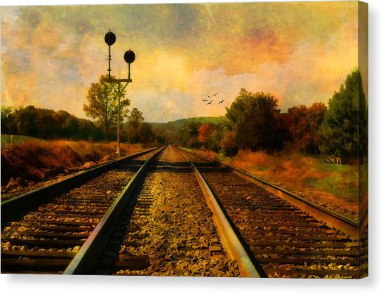 Country Tracks Canvas Print by Kathy Jennings