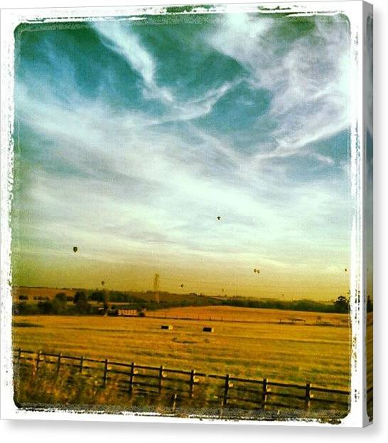 Hot Air Balloons Canvas Print - Countryside Balloon Rides by Vicki Field