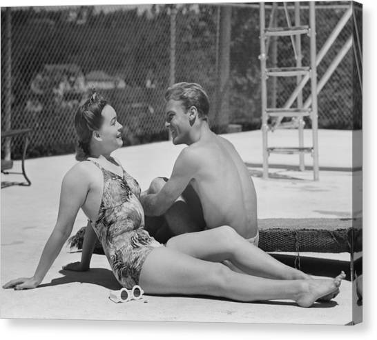 Couple At Poolside Canvas Print by George Marks