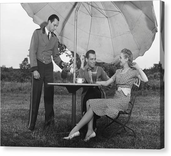 Couple Being Served By Waiter Canvas Print by George Marks