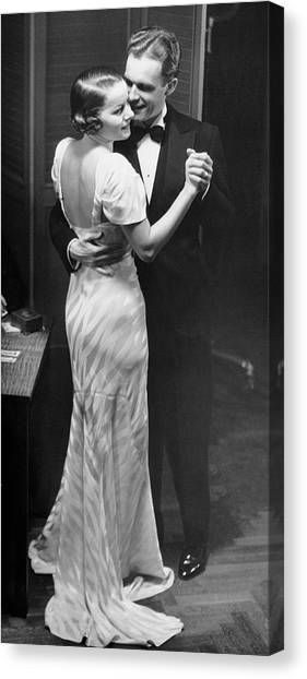 Couple Dancing In Evening Clothes Canvas Print by George Marks