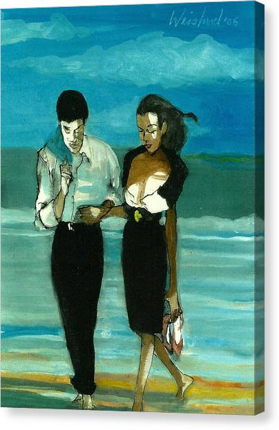 Couple On Beach In Black  3d Canvas Print by Harry WEISBURD