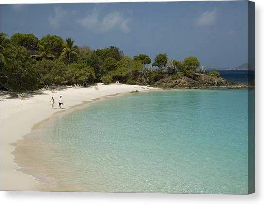 Couple On Beach In Caneel Bay Resort, Turtle Bay Canvas Print by Margie Politzer