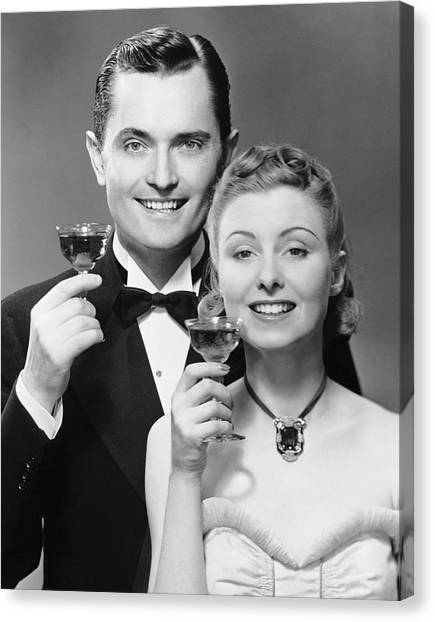 Couple W/ Champagne Glasses Canvas Print by George Marks