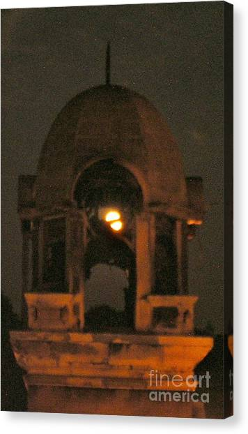 Courthouse Tower In Full Moon Canvas Print by Tina Ann Byers