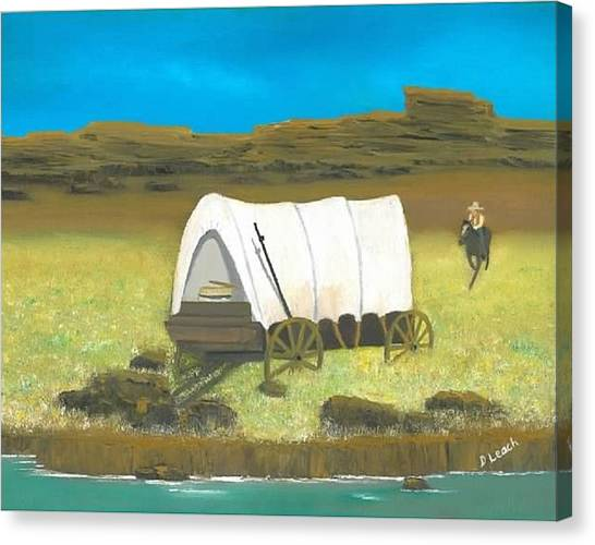 Covered Wagon Canvas Print by Donna Leach