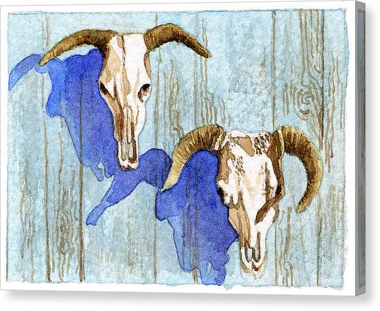 Cow Heads Canvas Print by Eunice Olson