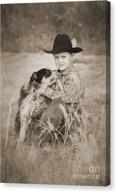 Cowboy And Dog Canvas Print by Cindy Singleton