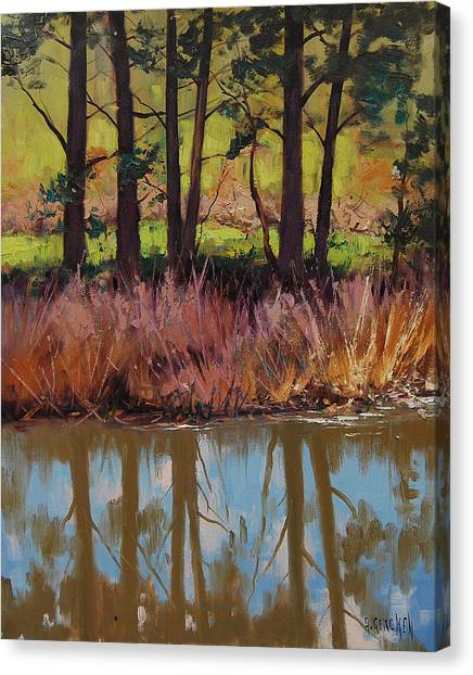 Plein Air Canvas Print - Coxs River Bank by Graham Gercken