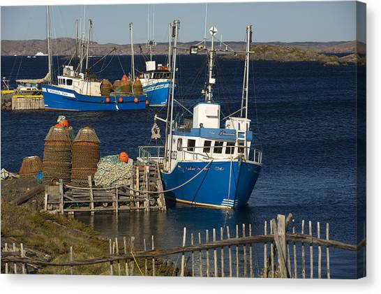 Newfoundland And Labrador Canvas Print - Crab Boats, Change Islands by John Sylvester