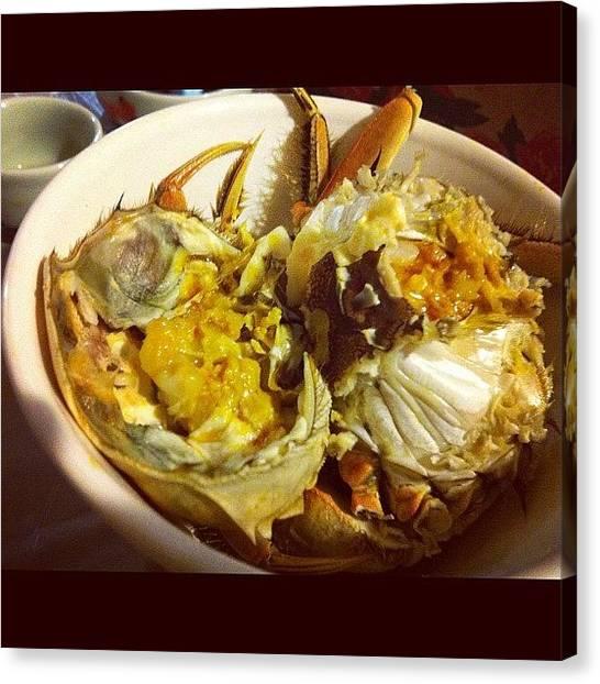 Seafood Canvas Print - #crab #hairycrab #shanghaicrab #seafood by TC Li
