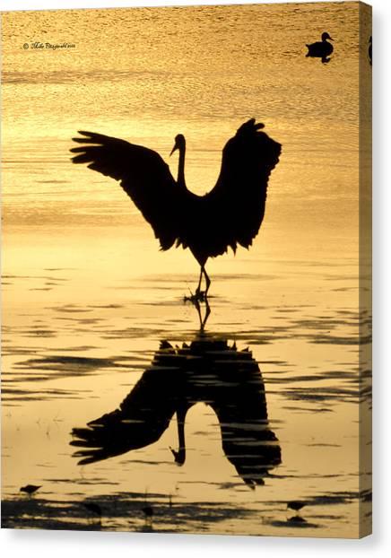 Crane Silhouette Canvas Print