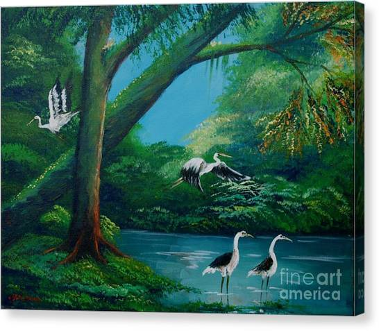 Cranes On The Swamp Canvas Print