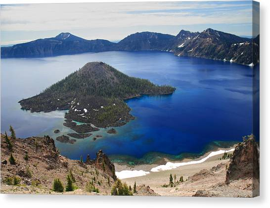 Crater Lake Wizard Island Canvas Print by Pierre Leclerc Photography
