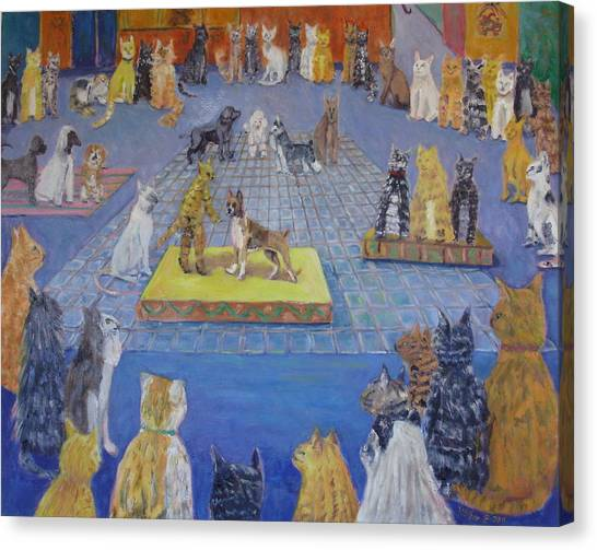 Main Coons Canvas Print - Crazy Cats Dog Show by Bonnie Wilber