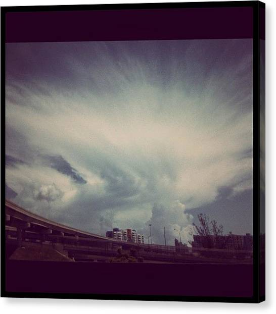 Largemouth Bass Canvas Print - #crazy #clouds #large #sky #blue by Emily W