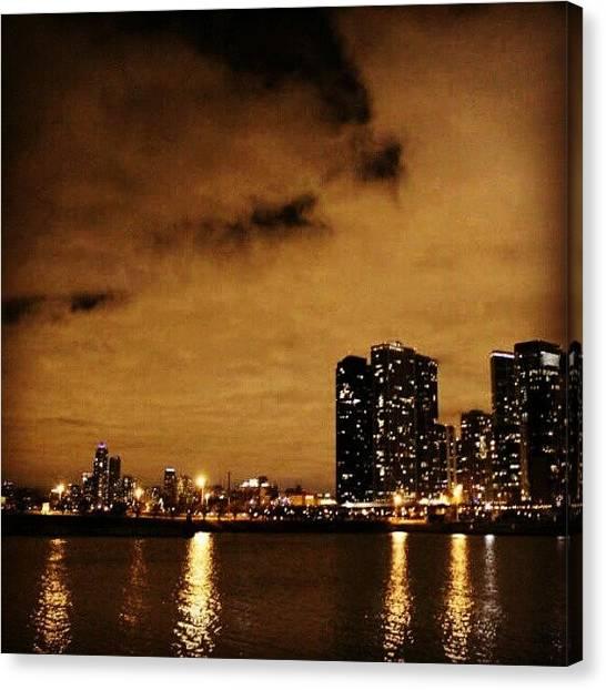 Om Canvas Print - Crazy Light Night #night #chicago by Om Bhatia