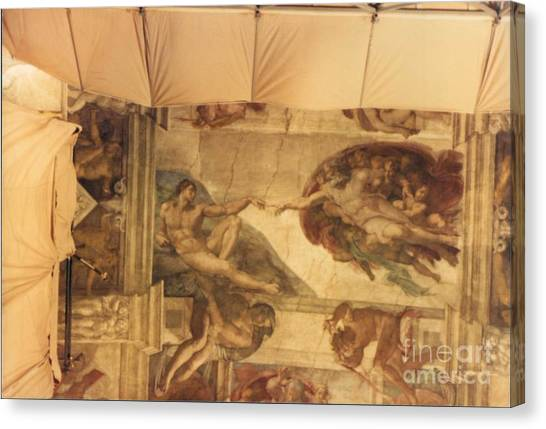 Creation Of Adam With Scaffolding Canvas Print