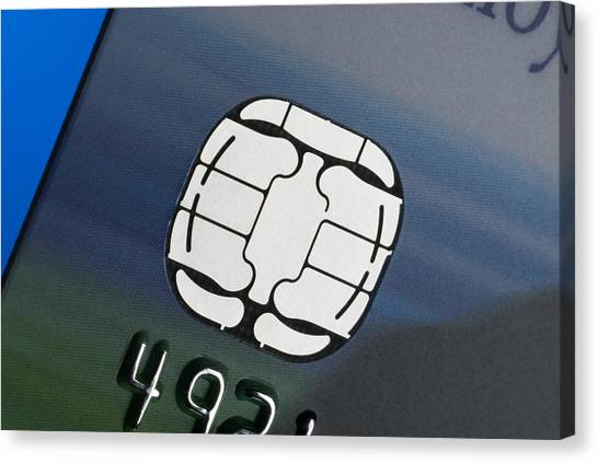 Debits And Credits Canvas Print - Credit Card Microchip by Steve Horrell