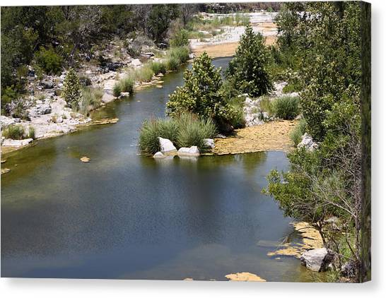 Creek In Marble Falls Canvas Print by Linda Phelps
