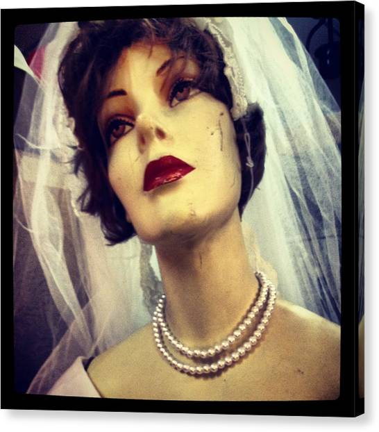 Creepy Vintage Bride Canvas Print