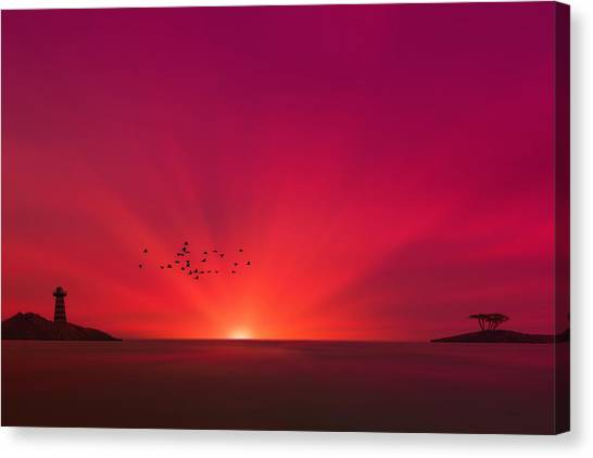 Crimson Sunset Canvas Print by Tom York Images