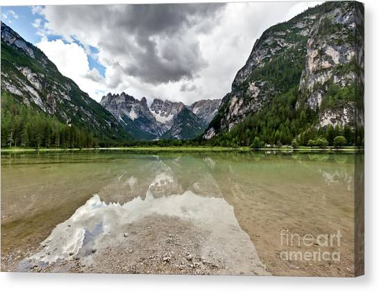 Cristallo Mountains Reflection Dolomites Northern Italy Canvas Print