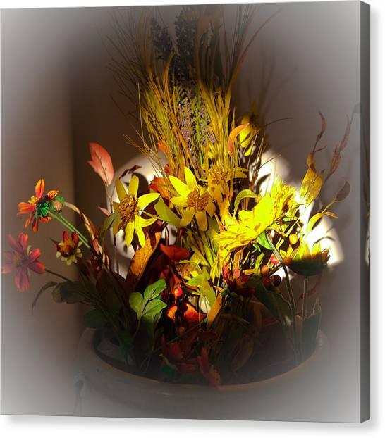Crock Canvas Print - Crock Pot Full Of Flowers by David Patterson