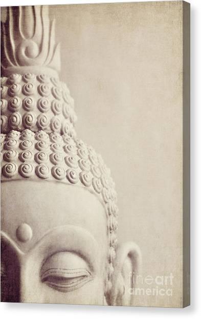 Cropped Stone Buddha Head Statue Canvas Print