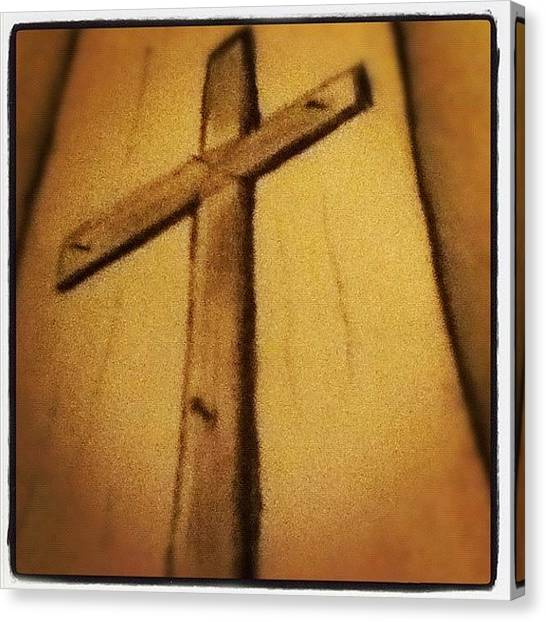 Draw Canvas Print - #cross #drawn #religion #christian #art by Aaron Justice
