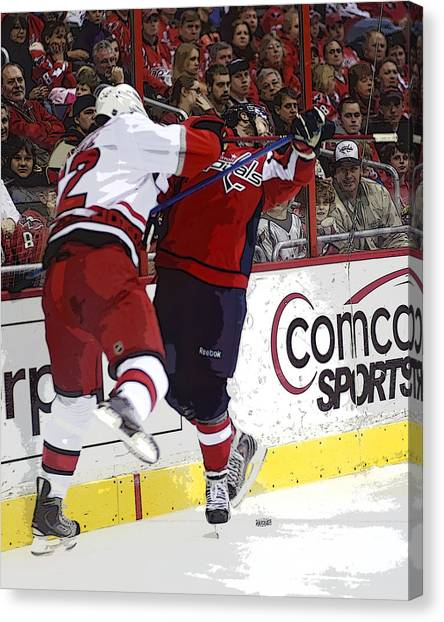 Carolina Hurricanes Canvas Print - Crosscheck by Michael Clubb