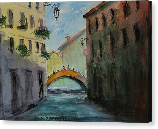 Crossing The Canal Canvas Print