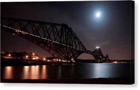 Crossing The Firth Under A Full Moon Canvas Print