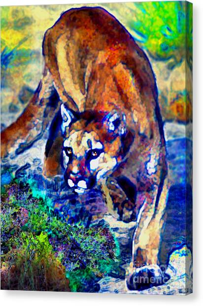 Crouching Cougar Canvas Print