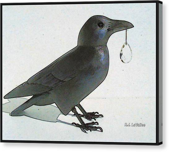 Crow With Crystal 8 Canvas Print