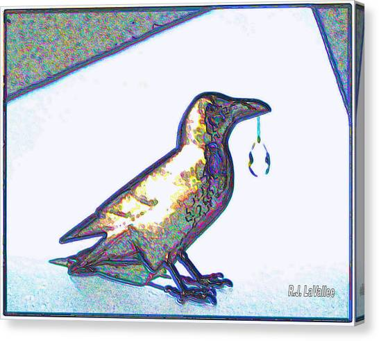 Crow With Crystal1 Canvas Print