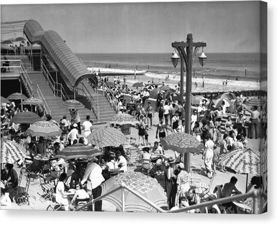 Crowded Beach, (b&w), Elevated View Canvas Print by George Marks