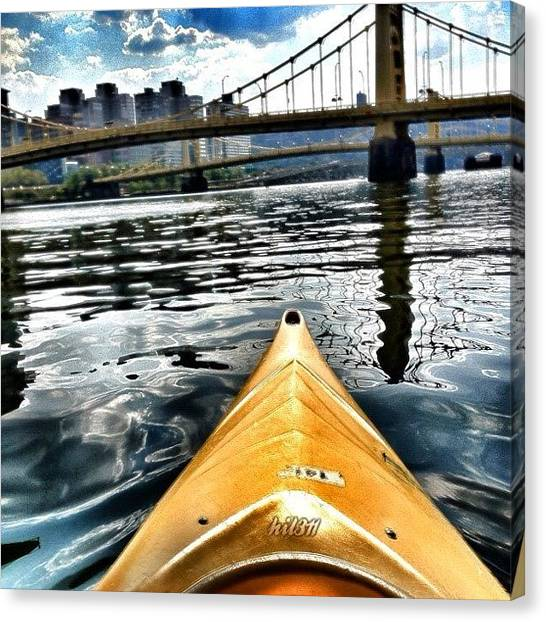 Kayaks Canvas Print - Cruising The Allegheny by Hilary Solack