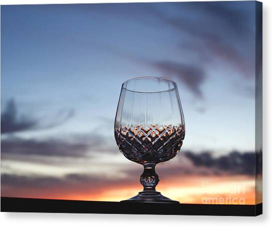 Cognac Canvas Print - Crystal Glass Against Sunset by Blink Images