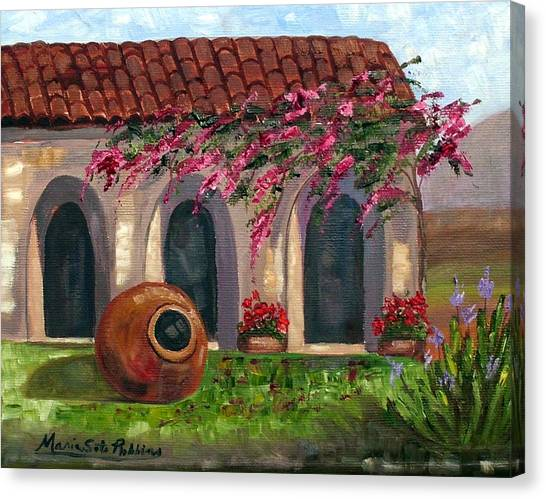 Cuban Courtyard With Tinajon And Bougainvillea Canvas Print by Maria Soto Robbins