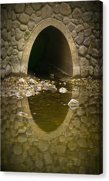 Drain Pipe Canvas Print - Culvert Emptying Into The Grand River by Randall Nyhof