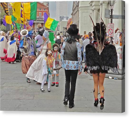 Curious Children On Mardi Gras In New Orleans Canvas Print