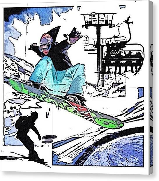 Snowboarding Canvas Print - Curvedspace... In Collaboration With by Popdada Ken Williams