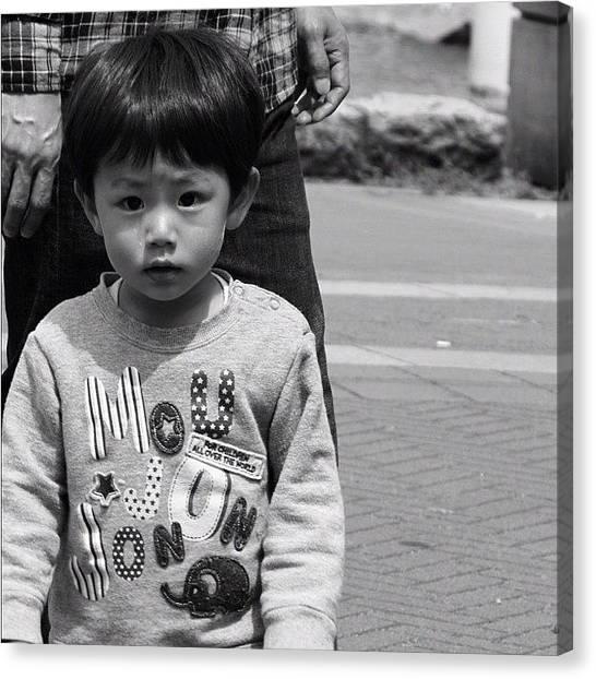 Yen Canvas Print - #cute #kid #black #white #instagood by Kee Yen Yeo