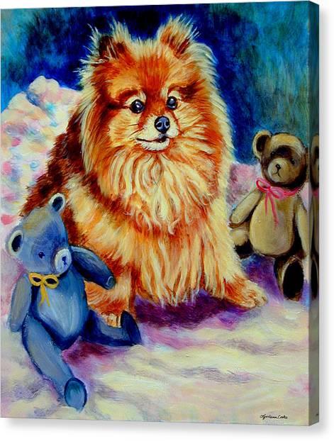 Pom-pom Canvas Print - Cutie Pie - Pomeranian by Lyn Cook