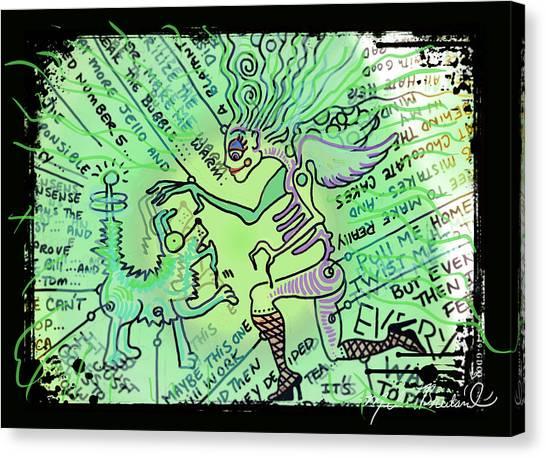 Dada Art Canvas Print - Dada Doodle In Green by Melissa Wyatt