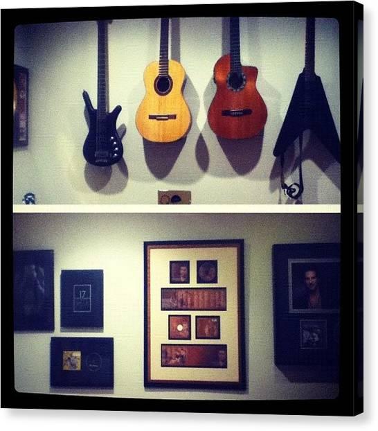 Bass Guitars Canvas Print - Dad's Playroom 🎸 #obsessed #weirdo by Gabriella Molina