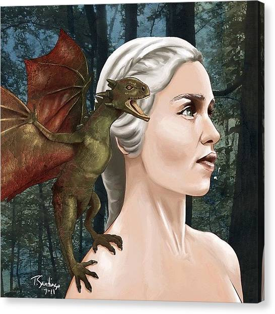 Dragons Canvas Print - Daenerys by Tony Santiago