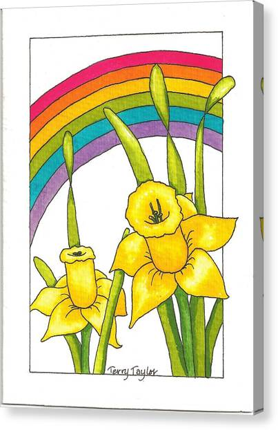 Daffodils And Rainbows Canvas Print